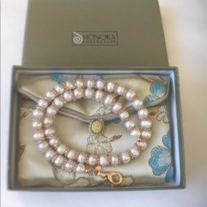 "Honora 16"" 8mm+ White Pearl Necklace"